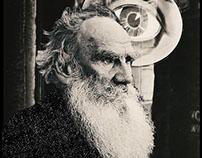 Boroda Tolstogo, bw collage portraits of Leo Tolstoy