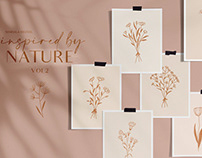 FREE Illustrations: Floral Line Drawings Logo Elements