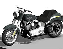 Harley Davidson 2014 Fatboy motorbike Revit Family