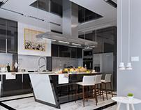 white & black kitchen