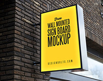 Free Outdoor Advertising Wall Mounted Sign Board Mockup