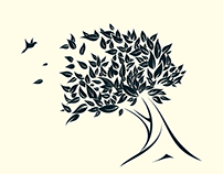 Tree and the Autumn Wind. Logo Design