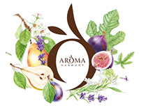 Watercolor illustration & design for AROMA Harmony