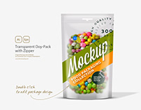 Transparent Doy-Pack with Zipper Mockup