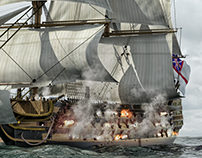 3D battleship HMS Victory vs Pirates