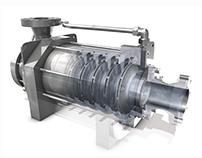 3D-Darstellung einer Industriepumpe