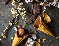 Chocalate and hazelnut ice cream