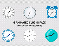 6 Animated Clocks - Free Motion Graphics Template