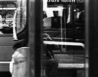 Selfie on moving bus door at 1000 shutter speed.