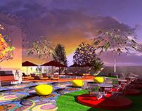 colourful design art, music, yoga therapy