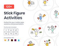 120 Stick Figure Activities Vectors