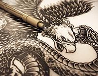 American Eagle Vs Snake - T-shirt Illustration