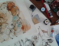 Preparation for an exhibition in Milan, Spazio 81