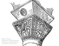 Restituzione grafica di un capitello Bizantino.