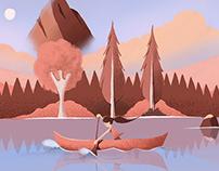 Dusk lake Canoeing