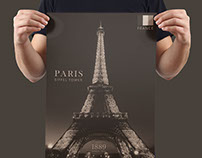 FREE PARIS EIFFEL TOWER POSTER - LAYERED EDITABLE PSD