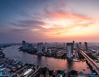 BANGKOK cityscape by Chao Phraya River