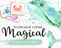 Magical Watercolor Animals Clipart