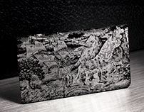 Black Metal Card With Detailed Silver Laser Etching