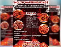 Mouth Watering Wings - Restaurant Flyer