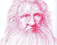 Ballpoint Pen Drawing - The Hobbit: Balin