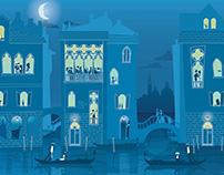 Venice landscape Retro illustration