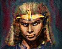 Digital Painting of Yul Brynner as the Pharaoh