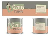 Genie Tuna Retro Style Food Label