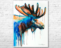 Moose watercolor painting by Slaveika Aladjova