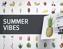 Summer Vibes PSD Illustrations Pack