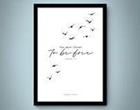 Poster ˝You were chosen to be free˝. Galatians 5.13
