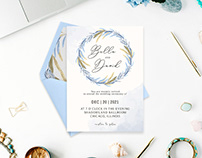 Free Blue Floral Watercolor Wedding Invitation