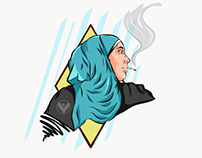 Smoking hijab woman