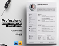 Professional Resume + Cover Page