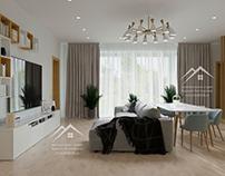Интерьер частного дома в скандинавском стиле, 320 м²