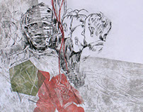 "triptych based on novel ""Ham on Rye"" by Bukowski"