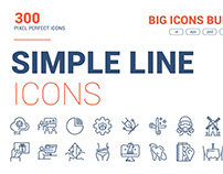 Simple Flat Line Icons