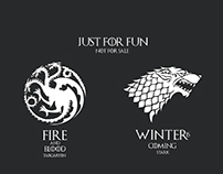 Game of thrones houses Targaryen,Stark