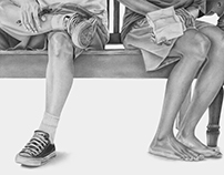"""""""Excluded"""" pencil on paper 155cm x 60cm 2015"""