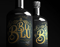 Blu blu grappa bottle label design.