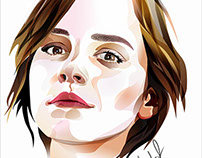 Vector portrait Emma Watson. Imitation of watercolor.