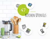 47 Kitchen Utensils Icon Pack - Lined & Filled