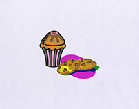 CUPCAKE AND CHOCOLATE CHIP COOKIES EMBROIDERY DESIGN