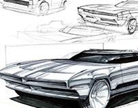 Retro American Muscle Car Marker Sketch