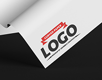 Free Curved Paper Logo Mockup