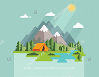 Flat vector landscape. Mountain view travel.