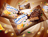 Wafer bar orange and peanuts