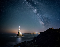 Ahtopol lighthouse in the night