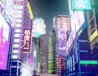 Sci fi Chicago Street by night