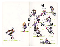 Teamwork - Moleskine Ink and Watercolor Illustration